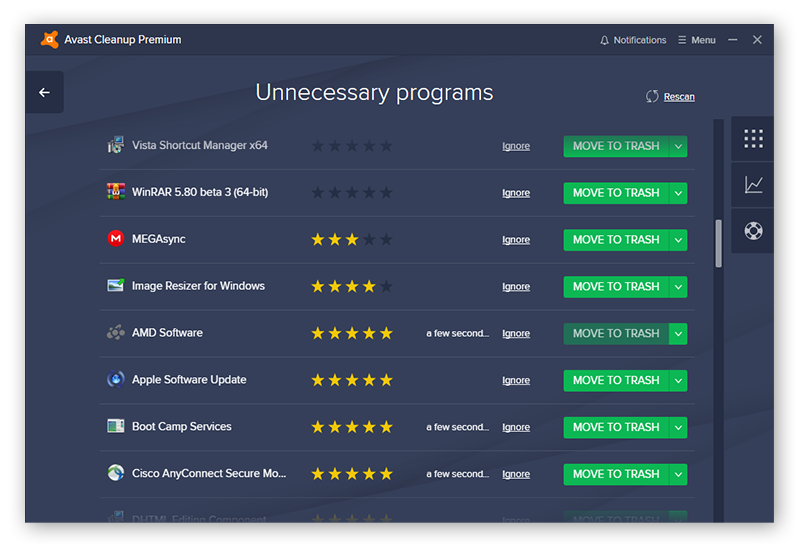 Avast Cleanup flags unnecessary programs and has a crowdsourced rating system to help you know which apps should be removed.