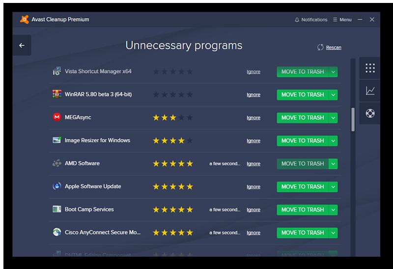 AvastCleanup vous signale les programmes inutiles et son système participatif d'évaluation vous permet de déterminer quelles sont les applications à éliminer.