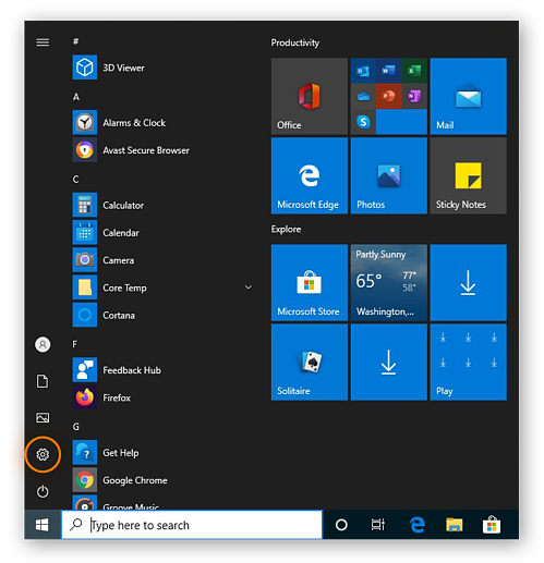 Opening the Settings in Windows 10 by clicking the Settings cog in the Start menu