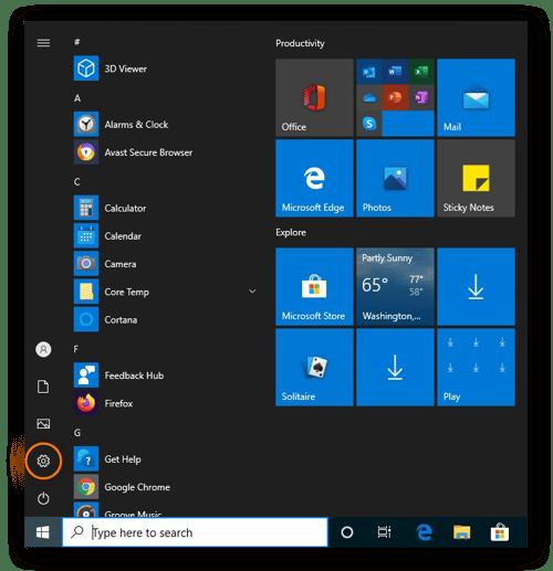 Ouverture des paramètres dans le menu Démarrer via l'icône en forme d'engrenage dans Windows10