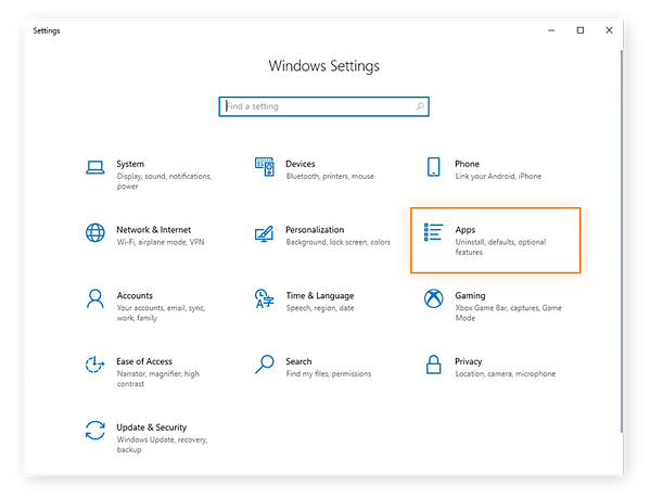 Opening the Apps settings from the Settings menu in Windows 10