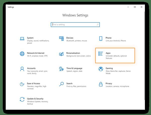 Ouverture des paramètres des applications dans le menu des paramètres de Windows10