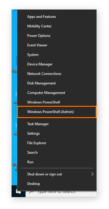 Opening Windows PowerShell with administrative rights in Windows 10