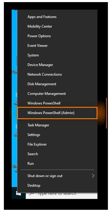 Ouverture de Windows PowerShell avec droits administrateur dans Windows10