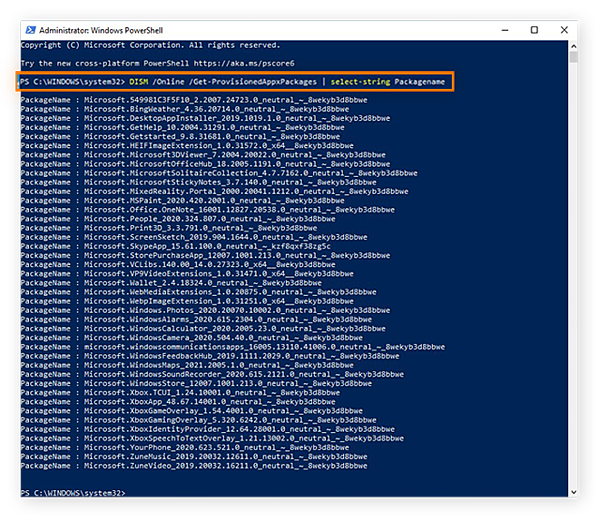 Using the DISM command in Windows PowerShell to view all preinstalled apps in Windows 10