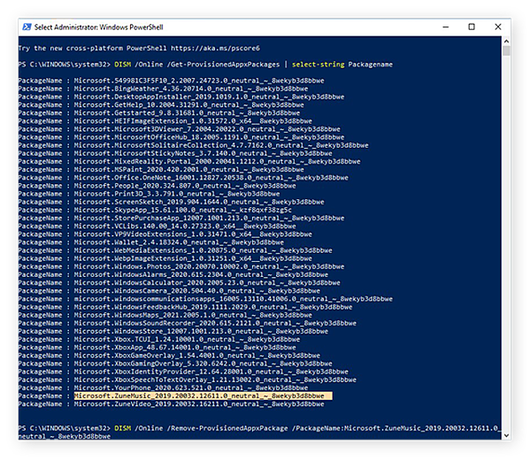 Deleting the Groove Music app from Windows 10 with the DISM command in Windows PowerShell