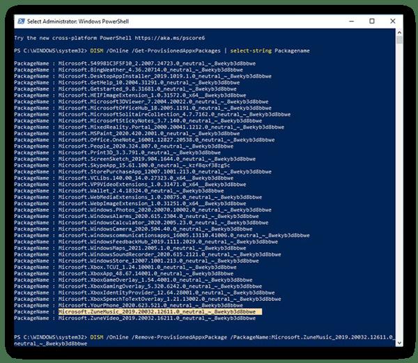 Suppression de l'application GrooveMusic de Windows10 à l'aide de la commande DISM dans WindowsPowerShell