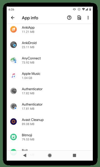 La liste de toutes les applications dans Android10.