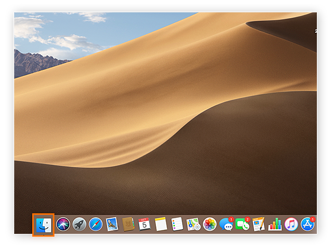Screenshot of Mac home screen to demonstrate location of Finder icon.