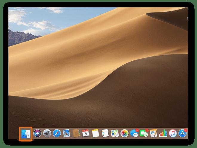 Capture d'écran de l'écran d'accueil d'un Mac pour indiquer l'emplacement de l'icône Finder.