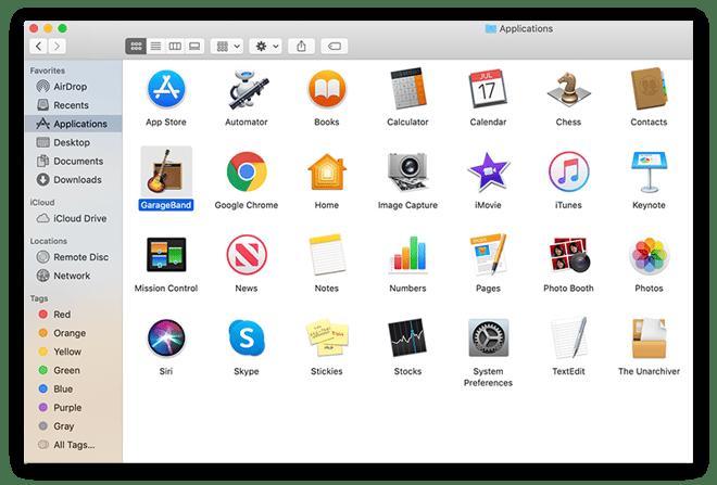 Screenshot of Mac Applications menu with the Garage Band app selected.