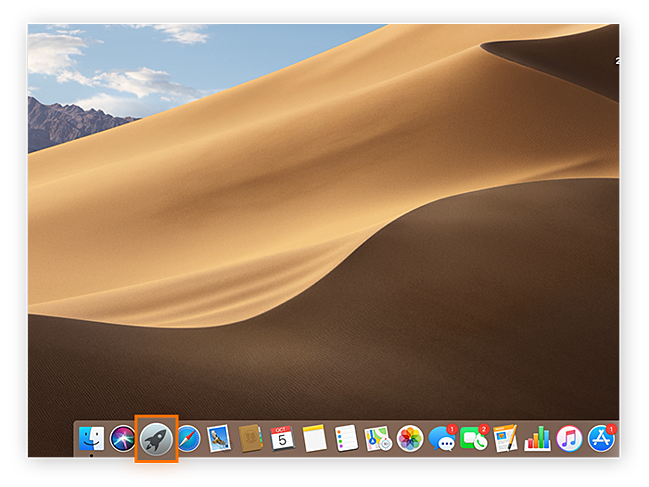 Screenshot of Mac home screen to demonstrate location of Launchpad icon.