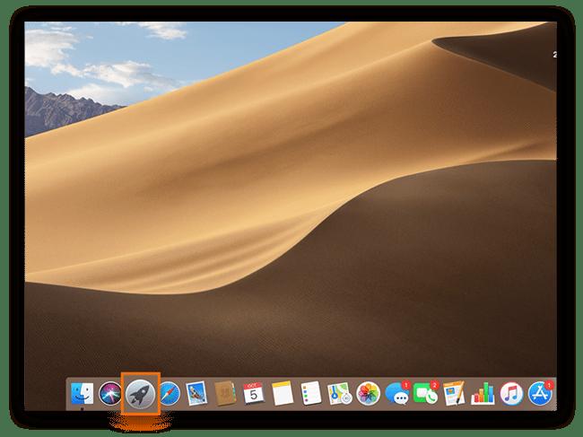 Capture d'écran de l'écran d'accueil d'un Mac avec l'emplacement de l'icône Launchpad.