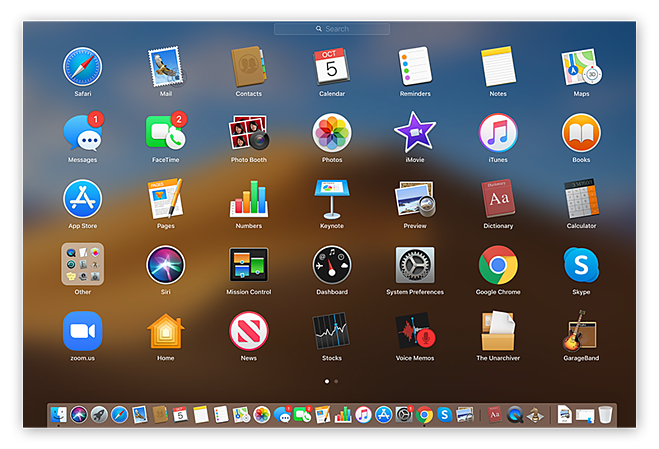 Screenshot of Mac Launchpad, with icon view of apps.