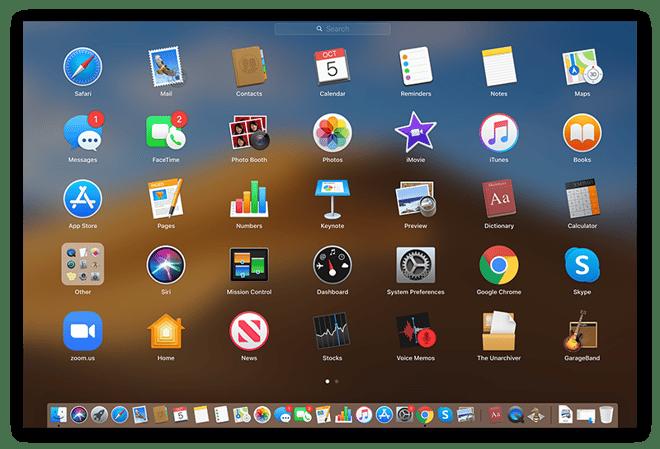 Capture d'écran du Launchpad sur Mac avec les applications affichées sous forme d'icônes.