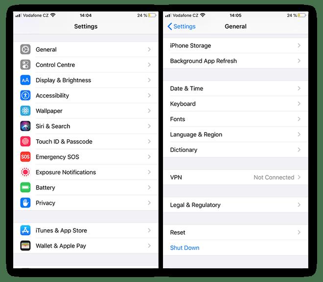 The Settings menu and General settings menu on an iPhone.
