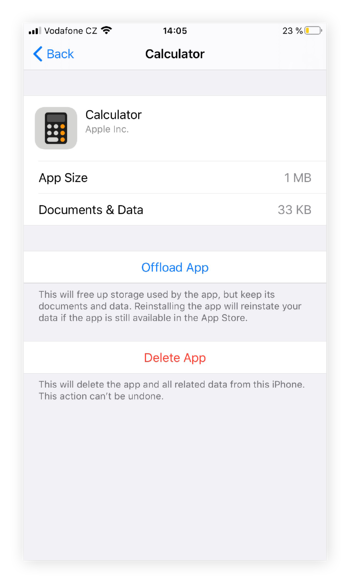 Screenshot of iPhone Calculator settings, to demonstrate how to Offload App or Delete App.