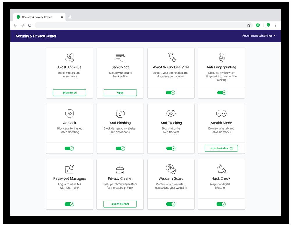 Avast Secure Browser está repleto de funciones que refuerzan la privacidad, como la sofisticada tecnología de bloqueo del reconocimiento.