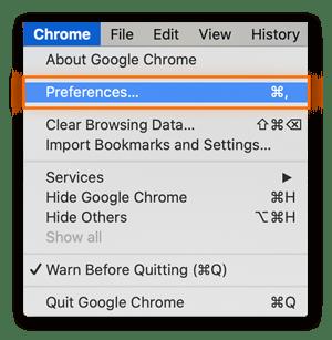 "Select ""Preferences"" under the Chrome menu"