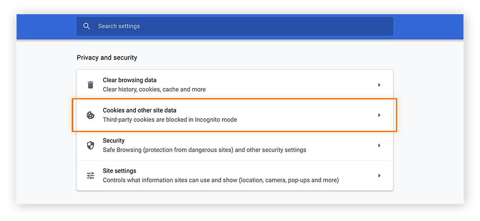 """Select """"Cookies and other site data"""" to continue to Chrome's tracking settings"""