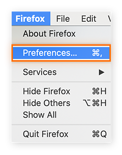 """Select """"Preferences"""" under the Firefox menu"""