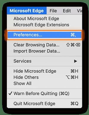 "Select ""Preferences"" under the Microsoft Edge menu"