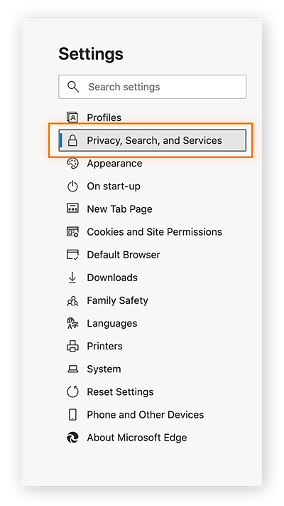 """Under """"Settings"""" on the left-hand side, click the """"Privacy, Search, and Services"""" tab"""