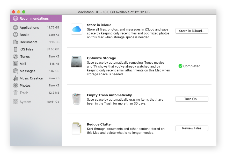 Manage storage options on macOS Sierra and newer versions.