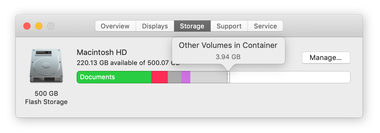 Storage tab on MacOS showing bar chart of Other storage on Mac and additional file types stored on a Macbook hard drive.