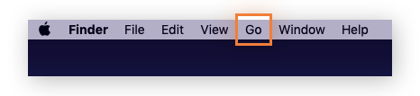 Finder menu bar with Go dropdown option selected.