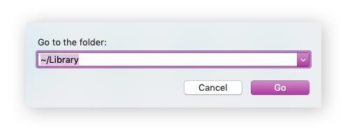 Enter command for Library directory in the Go to Folder text box.