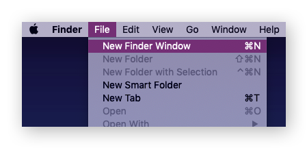 Open a New Finder Window from the Finder menu.