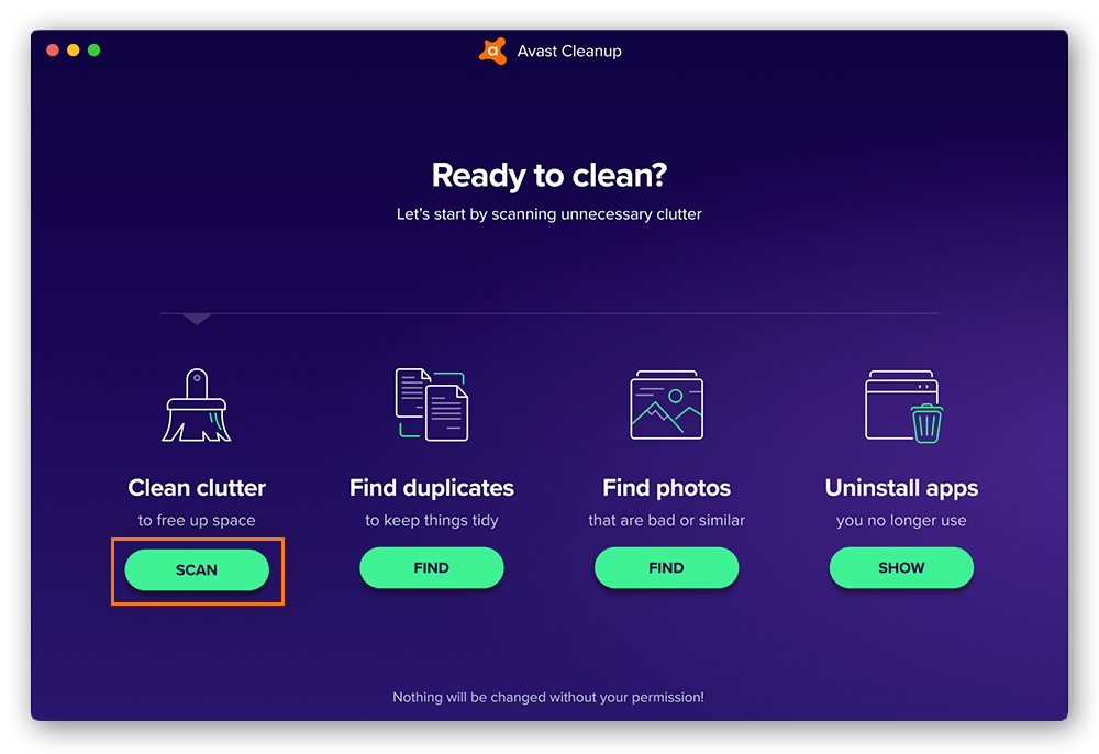 Quickly and automatically scan your Mac for clutter using Avast Cleanup.