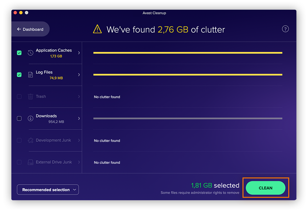 Scanning and removing unneeded files with Avast Cleanup for Mac.