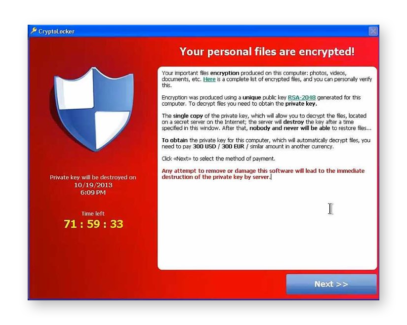 The CryptoLocker filecoder is ransomware that encrypts the victims files and demands payment for the decryption key.
