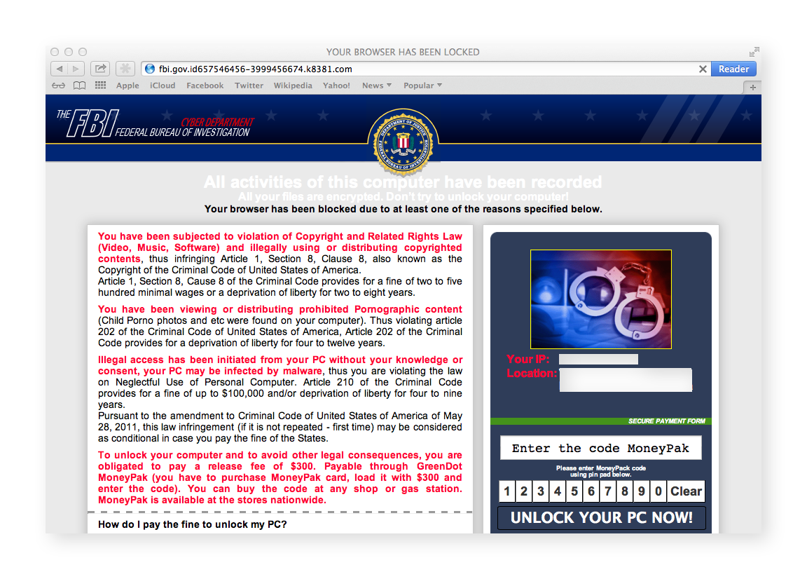 The FBI / MoneyPak ransomware strain locks the Safari browser, but can be resolved in minutes.