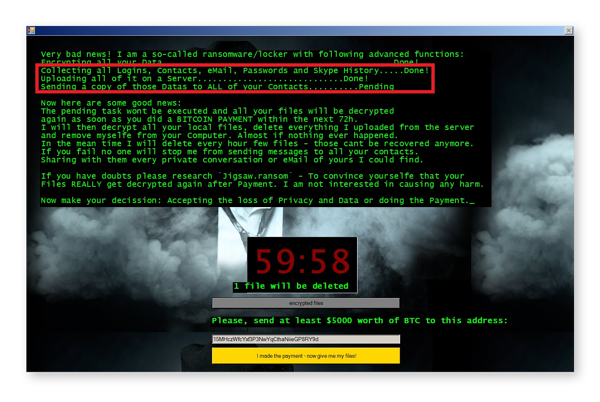 One variant of the Jigsaw ransomware virus includes a doxing threat.