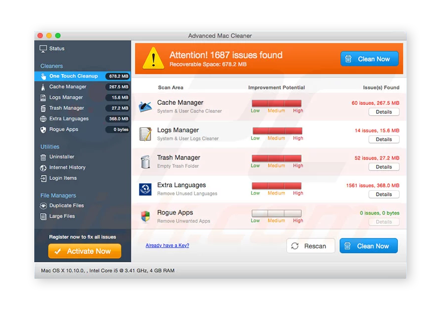 Advanced Mac Cleaner is scareware that tries to con users into paying for a bogus solution to a fake problem.
