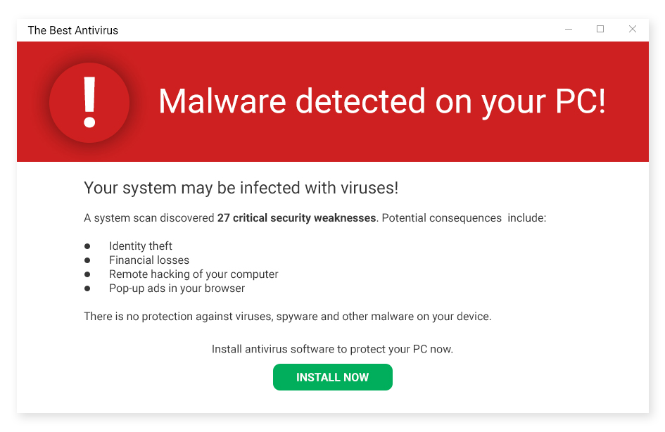 An example of scareware, which aims to scare you into downloading fake antivirus software.