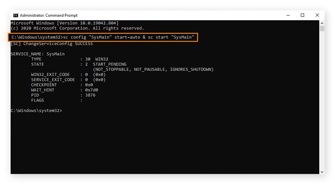Enabling SuperFetch in the Command Prompt for Windows 10