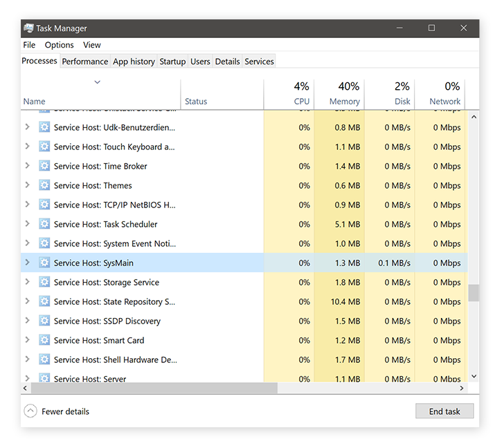 Identifying Windows Service Host Superfetch in the Task Manager for Windows 10