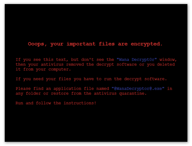 The Wanna Cry ransomware encryption screen.