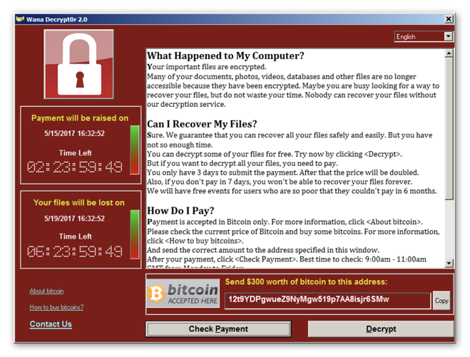 Screenshot of the WannaCry ransomware showing you how to pay the ransom.