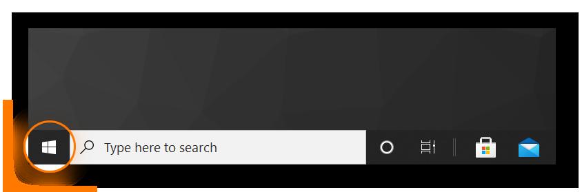 highlighting the Windows logo on Windows 10
