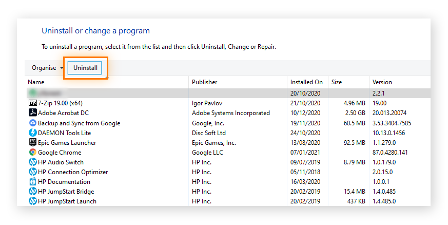 """Highlighting the 'Uninstall' option in the """"Uninstall or change a program"""" window in Windows 10"""