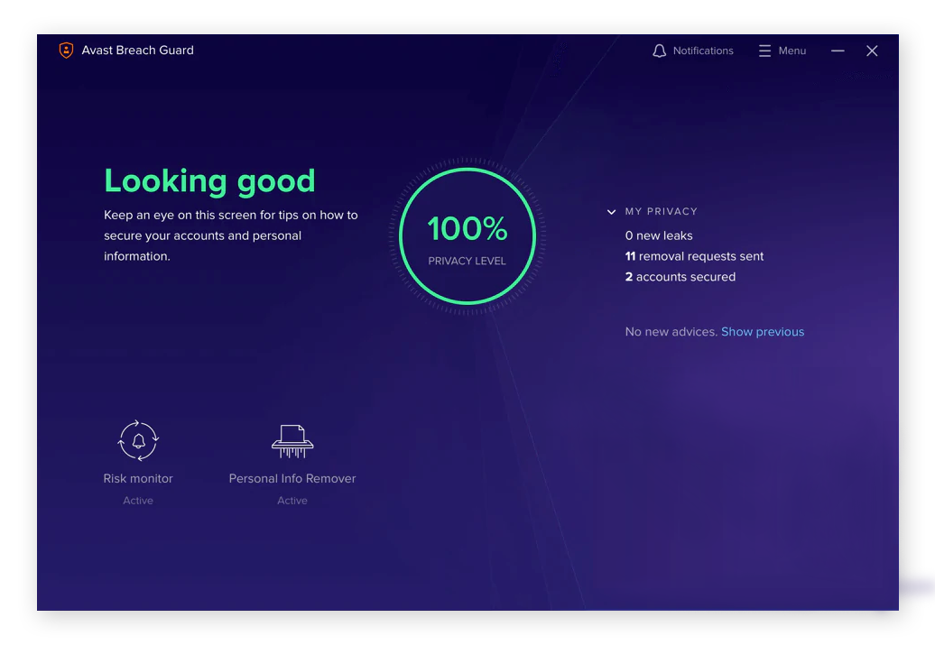 The Avast BreachGuard dark web monitoring tool for Windows 10