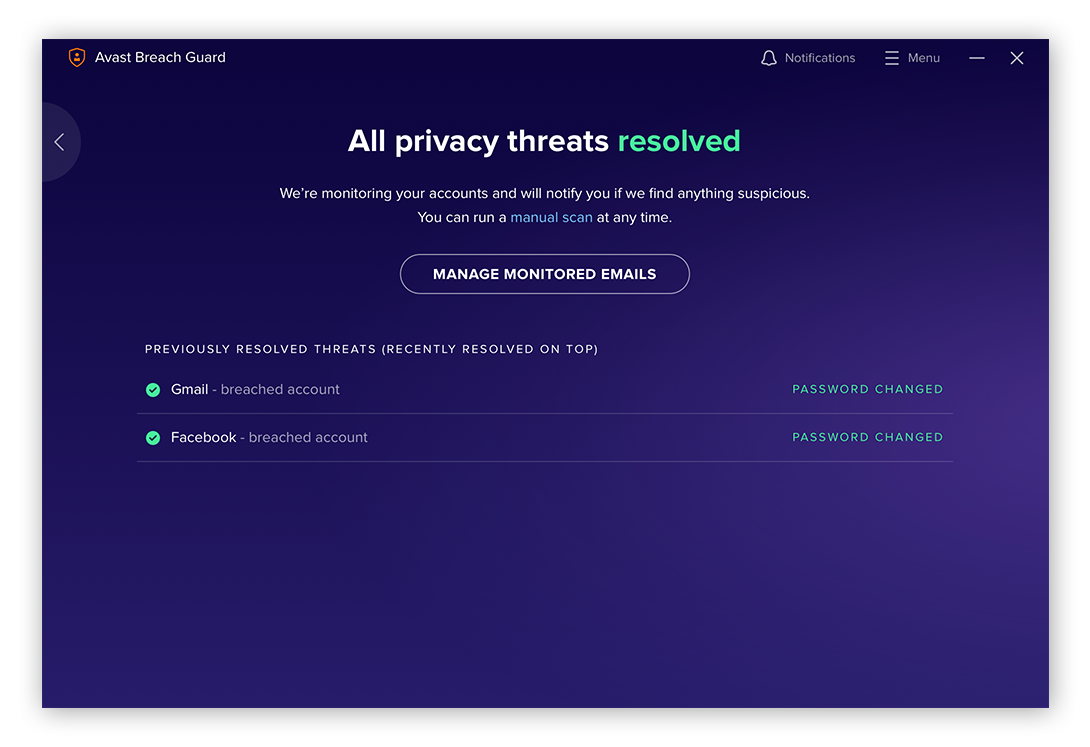 A privacy report from Avast BreachGuard for Windows 10