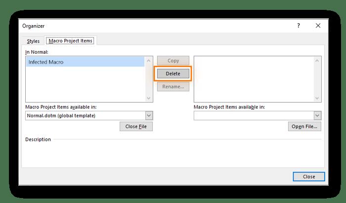 Deleting macros in Microsoft Word to remove a macro virus.