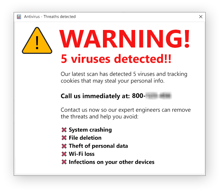 Tech support scams scare you into thinking there's a problem with your computer, often by showing you fake malware warnings.