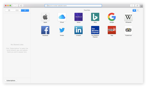 Screenshot of what a Safari web browser window looks like